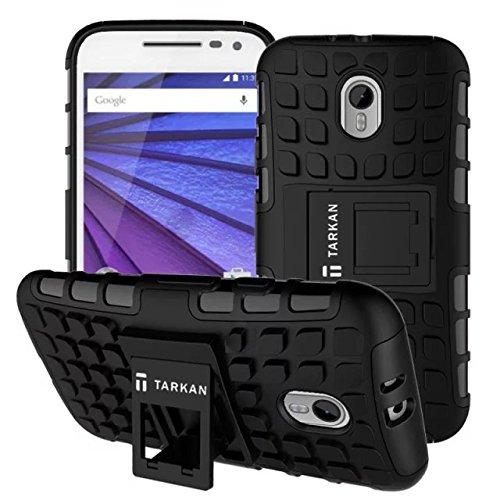 TARKAN Hard Armor Hybrid Rubber Bumper Flip Stand Rugged Back Case Cover For Moto G 3rd Generation (G3) / Moto G Turbo (Black)