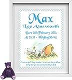 Personalisierte Kinderzimmer Bild | Baby Boy | Winnie the Pooh | Name, Datum, Gewicht, Zeit | NP020