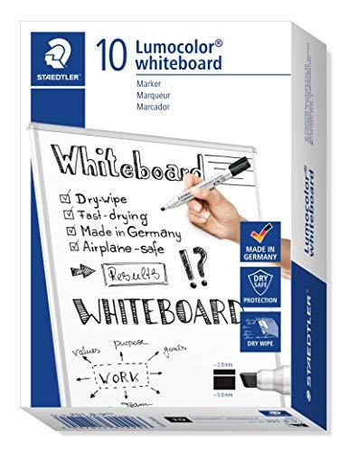 STAEDTLER Lumocolor whiteboard marker, 10 pennarelli di colore nero, punta a scalpello, 351 B-9