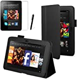 """Black Executive Multi Function Standby Case for the Kindle Fire HD 7"""" Tablet (Previous Generation Tablet) 16GB or 32GB with Built-in Magnet for Sleep / Wake Feature and Stylus Loop Holder + Screen Protector + Capacitive Stylus Pen"""
