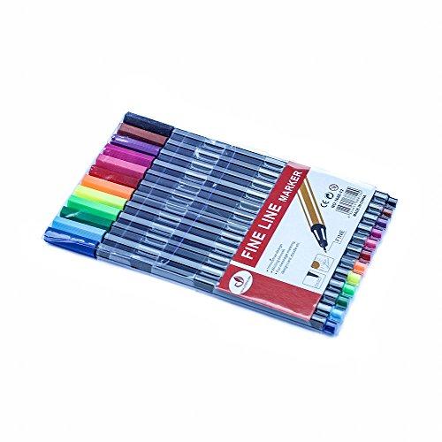 Set da 12 penne fineliner colorate a punta fine da 0,4 mm, colori assortiti.