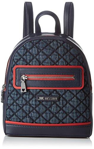 Love Moschino Damen Rucksackhandtasche, Blau (Denim), 9x27x23 cm