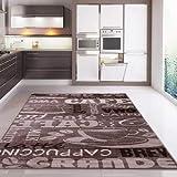 Kaffee Design Teppich Trendig, verschiedene Schriftarten und Muster in Beige ideal für die Lounge oder Küche - ÖKO TEX Zertifiziert, Maße:80x150 cm