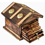 Worthy Shoppee Wooden & Brass Antique Hut Shape Coaster Set Home Decor Gift Item