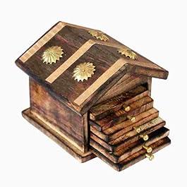 Worthy Shoppee Wooden & Brass Antique Hut Shape Coaster Set Home Decor Gift Item