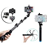 Selfie Stick Extendable Handheld Monopod Self Portrait With Zoom Bluetooth Shutter With Locust Series Pocket Sized Selfie Stick Monopod With AUX Selfi Stick Compatible With All Smartphones -by Exosis