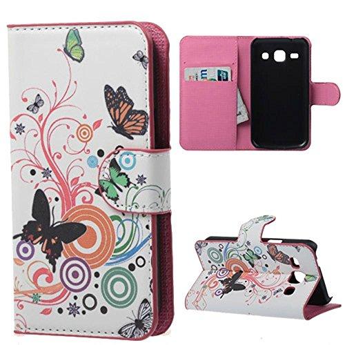 Housse Samsung Core Plus,Étui à Rabat Coque en PU Cuir Étui Pour Samsung Galaxy Core Plus (GT-G3500 / SM-G350 / G3502) Case Cover Portefeuille Housse de Protection Protecteur (Papillons colorés)