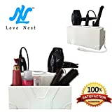 Love Nest Hair Dryer Holder Bathroom Accessory Sets White Personal Snake PU Leather Ceramic Countertop Hair Styling Storage Chest Station
