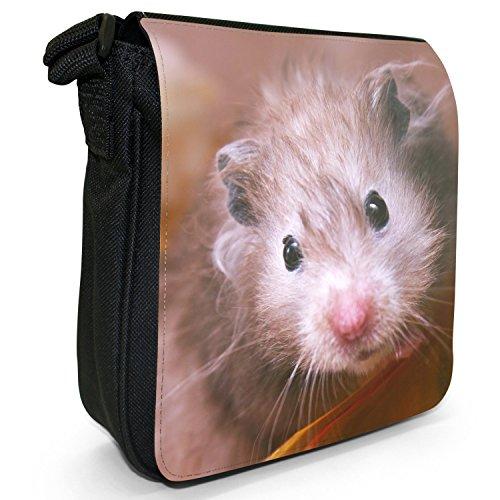 Hamster Kleine Schultertasche aus schwarzem Canvas Alter grauer dünner Hamster