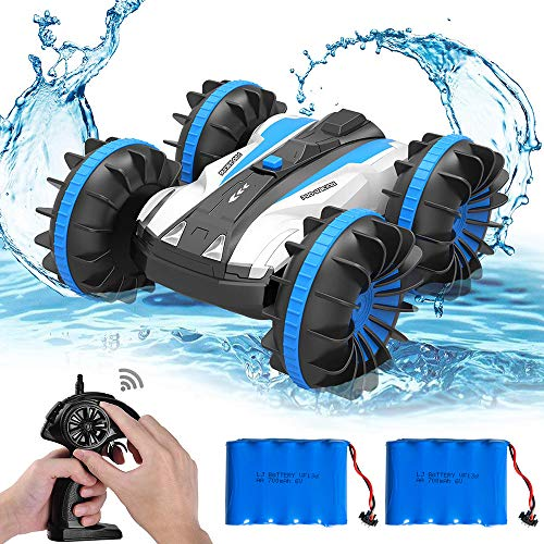 Amphibious Waterproof Remote Control Boat 2.4Ghz 4WD All Terrain RC Truck/Double-Side 360 Degree Spins Cars Toy for Kids, Blue