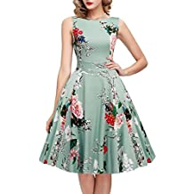 100e1c4de27 ... IHOT Women s Vintage 1950s Classy Rockabilly Retro Floral Pattern Print  Cocktail Evening Swing Party Dress