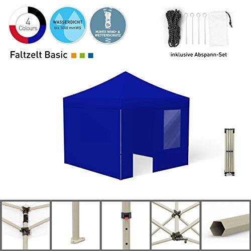 Faltpavillon Faltzelt Pavillon Klappzelt Basic 3 x 4,5 m, weiß (4 Zeltwände - davon 1 Wand mit Tür) - weitere Farben und Größen lieferbar