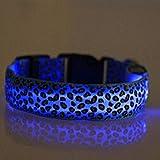 Evtech (tm) del estampado leopardo de Seguridad Noche plomo collar de perro de animal doméstico del gato Collar ajustable con luz de flash plano Azul
