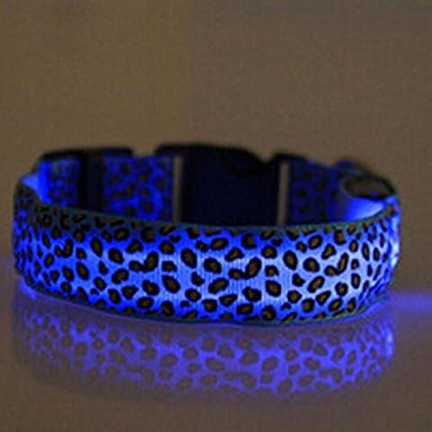 Evtech (tm) Léopard sécurité Nuit plomb Collier Chien Chat Collier réglable avec Flash Light-up Blue - S