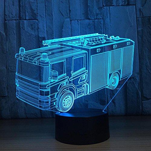 OOFAY LIGHT® 3D LED Nachtlicht Lampe Fire Truck Touch Tisch Schreibtischlampe 7 Farben ändern optische Illusion Lichter mit Acryl Flat & ABS Base & USB Kabel für Weihnachtsgeschenke [Energieklasse A +++] 3d Fire Truck Spielzeug