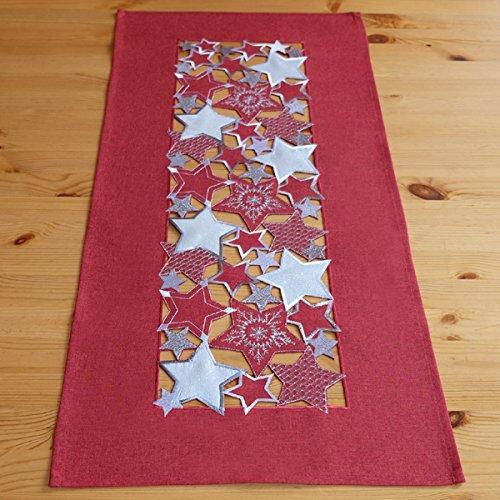 heimtexland Weihnachten exklusiver Tischläufer aus Stickerei Sternen in rot weiß 40 x 85 cm Tischdecke Sterne Tischdekoration Ökotex zertifiziert Typ479
