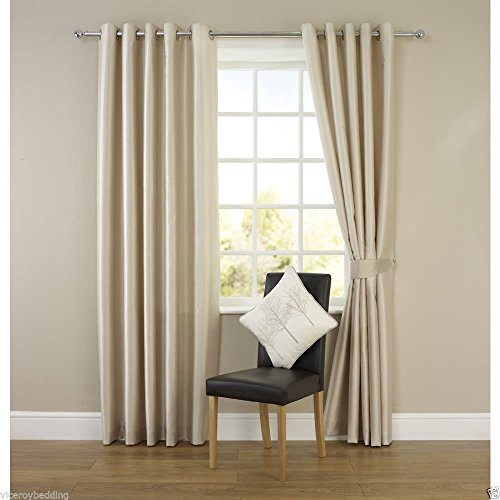 Pair of CREAM 66″ Width x 90″ Drop, Luxury FAUX SILK Eyelet Curtains INCLUDING PAIR OF MATCHING TIE BACKS, by VICEROY BEDDING