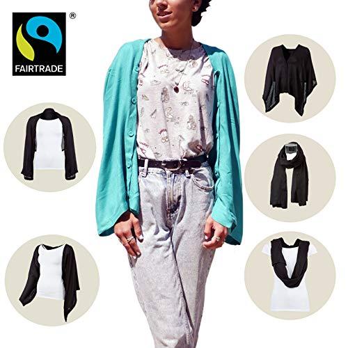 fairtrade bikini Yadawee - Multifunktionstuch/Schal und Cardigan für viele verschiedene Tragvarianten, handgewebt in Ägypten aus 100% Viskose |160 x 50 cm (Türkis)