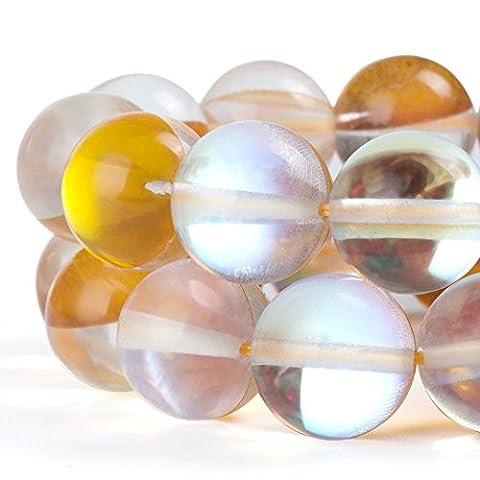 Rubyca synthétique ronde Pierre de Lune Cristal Perles de verre Aura irisé Couleur, doré, 6 mm