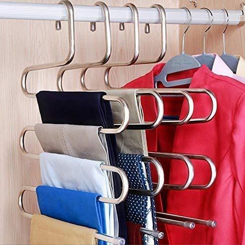 Ouken S-Type Edelstahl Kleidung Hosen Kleiderbügel Kleiderschrank Lagerung Organizer für hängende Hose Jeans Schal (14,17 x 14.96ins, 3er-Set) (3-teilig) (Hängende Schal-organizer)