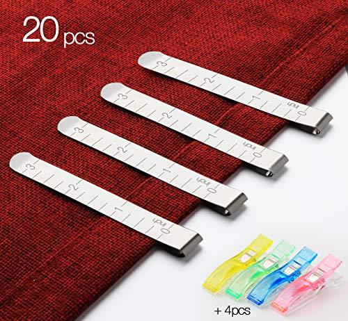ilauke Nähen Clips Set von 20 Edelstahl Hemming Clips 3 Zoll (7.6cm) Messung Lineal Quilten Supplies für Nähen Quilting Clips Häkeln mit 4 Stück Stoffklammern 56 x 12 mm -