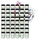 48er Set Sturzglas 435 ml Marmeladenglas Einmachglas Einweckglas To 82 schwarzer Deckel incl. Diamant-Zucker Gelierzauber Rezeptheft