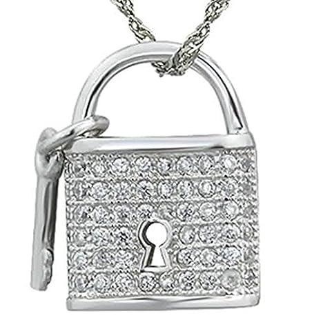 Epinki Women Girls 925 Sterling Silver Necklace Cubic Zirconia Key Lock White
