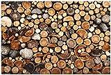 Wallario Poster - Dunkler Holzstapel rund in Premiumqualität, Größe: 61 x 91,5 cm (Maxiposter)