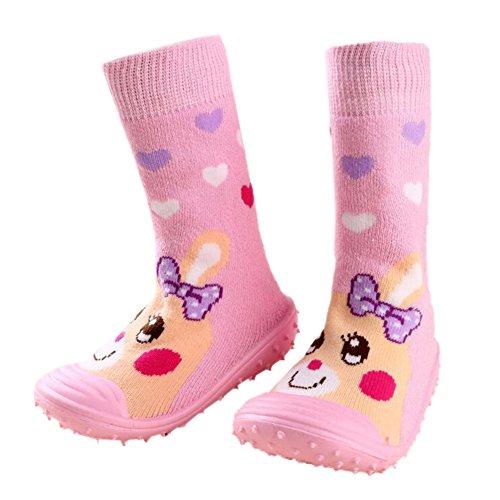 Säugling Baby Karikatur Gemustert weich Gummi Boden Anti-Rutsch Stiefel Aqua-Socke Pink Heart Rabbit