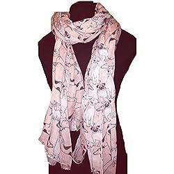 Bufanda rosada con diseño mezclado bosquejo del perro. carlino, perro de la salchicha, labrador y whippet.