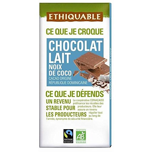 Ethiquable chocolat au lait noix de coco 100g - ( Prix Unitaire ) - Envoi Rapide Et Soignée