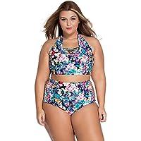 meinice scuro stampa floreale Plus Size Vita Alta Swimsuit