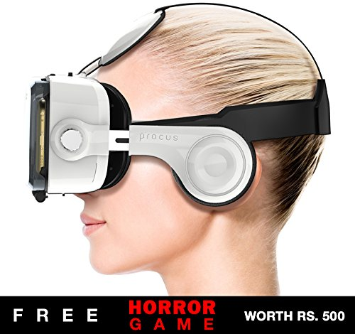 """Procus PRO (New) VR Headset - 100-120 Degree FOV with Highest Immersive Experience - Inbuilt Headphones - Best with 4.7""""- 6"""" Phones - Inspired by Google Cardboard and Oculus Rift - Virtual Reality Gear - Best Selling for K4 Note Lenovo, iPhone, Android Phones."""
