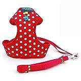 B-JOY Pet Geschirre Klassisch Ultra-Soft Hundegeschirr Hundehalsband Haustierkabelstrang mit niedlichen Glocke (Dots Red, M)