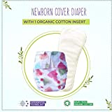 Superbottoms Supersoft Newborn Reusable Cover Diaper with Velcro Closure + 1 Organic Cotton Insert, Baby Hearts, New Born