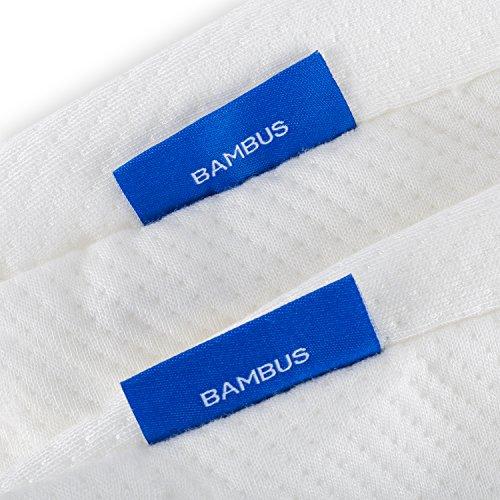 BetterSleepWell Nackenstützkissen mit 2x Bambus Naturfaser Kissenbezug  50×30 cm Höhe 10-7 cm – weiß - 4