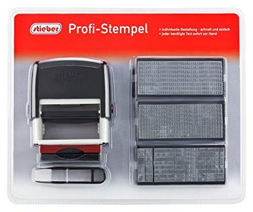 stieber Profi Stempel 5 Zeilen SUPER Maxi Set 2015: 6 Typensätze, 2 Kissen, Stempelunterlage (Bügelfarbe unten wählbar) (Bügelfarbe schwarz) -