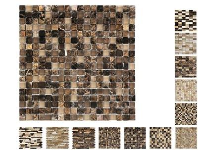 1 Netz Marmor Glas Mosaik Castano 15 Ambiente von Mosaikdiscount24 auf TapetenShop