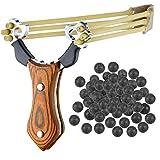 Sports Funshop Set Profi Steinschleuder aus Stahl und mit Holz-Griff und Gummiband + 200 Schlammkugeln Munition