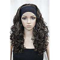 Kalyss–Parrucca da donna lunga ricci di alta qualità importati resistente al calore capelli sintetici parrucca con fascia