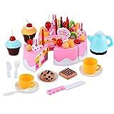 Gearmax 54pcs Spielzeug kuchen Schneiden Geschirrset Cutting Toy Pretend Play Kinder-Rollenspiele Küchenspielzeug(Rosa)