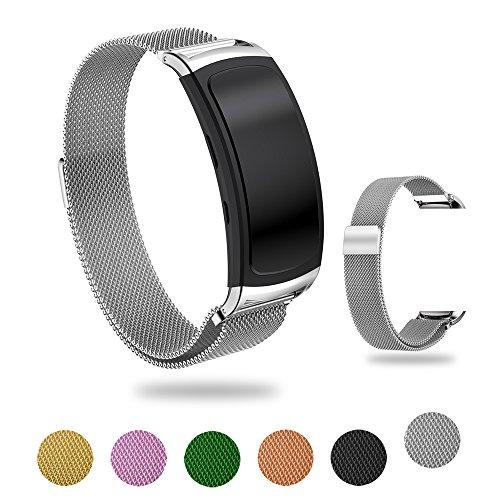 Tosenpo Samsung Gear Fit2 / Gear Fit 2 PRO Armband, Zubehör Magnetverschluss Edelstahl Milanese Loop Metall Ersatz Armband Handschlaufe für Samsung Gear Fit2 SM-R360 und Gear Fit 2 PRO