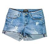 Hocaies Damen Jeansshorts Basic in Aged-Waschung Jeans Bermuda-Shorts Kurze Hosen aus Denim für den Damen Sommer High Waist Denim Kurze Hose mit Quaste Ripped Loch Hotpants Shorts (42, 03 Hell blau)