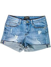 Hocaies Damen Jeansshorts Basic in Aged-Waschung Jeans Bermuda-Shorts Kurze Hosen aus Denim für den Damen High Waist Denim Kurze Hose mit Quaste Ripped Loch Hotpants Shorts