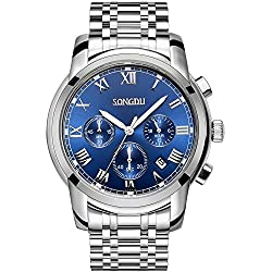 SONGDU Mens Quartz Unisex Wrist Watch Silver Stainless Steel Band Dress Analog, Chronograph Classic Design Calendar Date Window - Blue Dial Luminous Hands