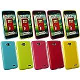 Emartbuy® LG L70 Glänzend Gel Hülle Schutzhülle Case Cover Packet Mit 5 - Hot Rosa, Rot, Blau, Gelb, Grün