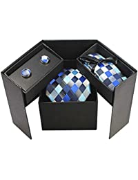 Bradford Blue Checked Mens Necktie Gift Set With Cufflinks And Hanky Pocket Square (Blue Checked)