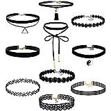 Yidarton 10 Stück Choker Halsketten Set Velvet Halskette Tattoo Halsband, Schwarz