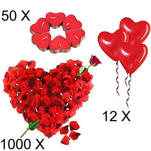 Kit Romantico di Candele e Petali | 50 Candeline a Forma di Cuore + 1000 Petali di Rosa di Seta + 12 Palloncini a Forma di Cuore Rossi - Decorazioni per Matrimonio, San Valentino e Fidanzamento