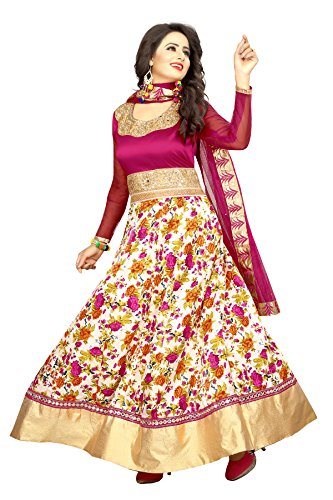 Trishulom Anarkali Suit - Semi Stitched Full Length Suits For Women Beautiful Ethnic Suits For Festive Occasions Women Long Kurtis - Pink